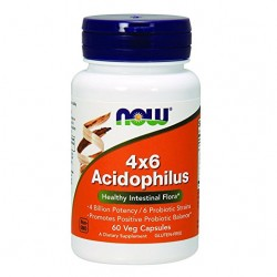 NOW Acidophilus 4X6, 60 Capsules