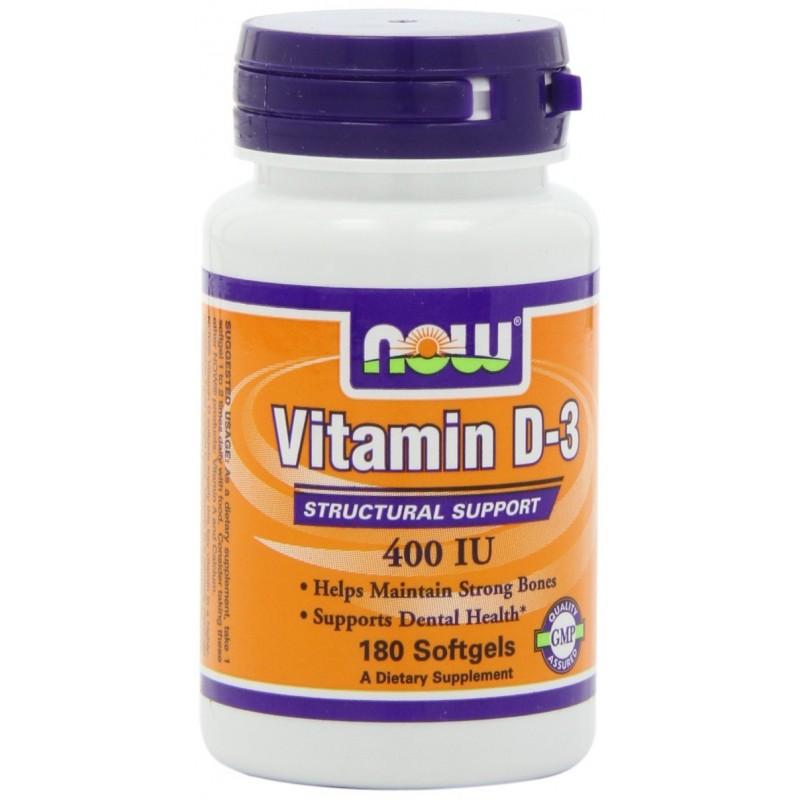 NOW VIT D-3 400 IU 180 SOFTGELS - Vitamin Planet